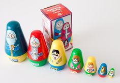 1983 Plastic Nesting Folk Family Dolls and Box, 7 Piece, Chadwick-Miller... wish they were wooden