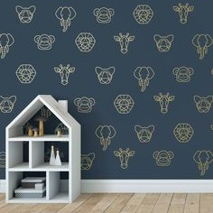 I've just found Geometric Jungle Wall Stickers. These gorgeous geometric jungle animal wall stickers are a modern take on the ever popular jungle theme, featuring a Lion, Elephant, Tiger, Giraffe and Monkey. Jungle Wall Stickers, Animal Wall Decals, Nursery Wall Stickers, Wall Stickers Animals, Kids Wall Decals, Vinyl Wall Stickers, Baby Room Design, Baby Room Decor, Nursery Decor