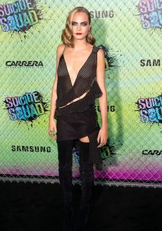 Cara Delevingne killed at the Suicide Squad premiere in a studded frock and over-the-knee Christian Louboutin boots. Find out how to recreate her rock star makeup!