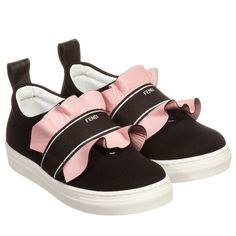Fendi - Girls Black & Pink Ruffle Trainers | Childrensalon