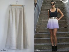 DIY dip dye mini skirt