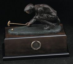 Measuring Golfer Bronzed Metal Sculpture on Wood Base T.P.