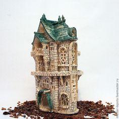 """Купить Подсвечник """"Замок Бэкингем"""" - зеленый, замок, средневековье, англия, европейский домик, подсвечник, ночник"""