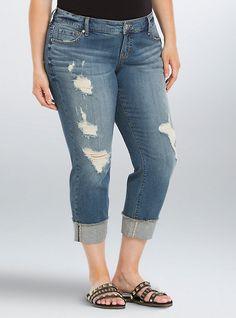 Torrid Cropped Boyfriend Jeans - Medium Wash with Destruction, BUSTED BLUES