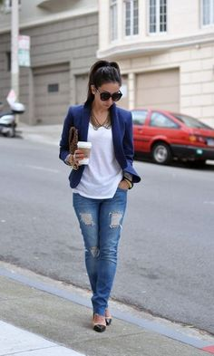 Look: Blazer Azul Mode Outfits, Jean Outfits, Fashion Outfits, Womens Fashion, Fashion 2018, Basic Fashion, Look Fashion, Street Fashion, Classy Fashion