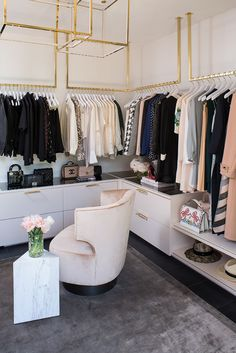 Celebrity closet designer Lisa Adams takes us inside her new, luxurious closet. Plus, she reveals her top design tips for crafting the closet of your dreams. Glam Closet, Luxury Closet, Walk In Closet, Closet Space, Shoe Closet, Pink Closet, Wardrobe Room, Closet Bedroom, Design Hall