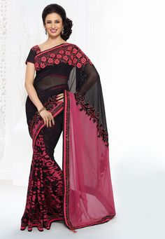 A superb floral and stone work designer saree with brasso skirt along with Resham, Sequins, Stone, Lace Work, Applique