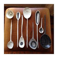 ● Suzanne Sullivan ● Ceramic Spoons, Wooden Spoons, Ceramic Pottery, Ceramic Art, Suzanne Sullivan Ceramics, Chopstick Rest, Ceramic Design, Natural Forms, Utensils