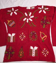 CUTE, 2! Tacky Ugly CHRISTMAS SWEATER Red Green White Poinsettias Pearls S/M    | eBay