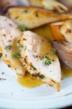 Juicy Pork Tenderloin with Pears and Shallots | jessicagavin.com