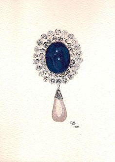 Broche de zafiro. Hecho para la emperatriz viuda Marie Feodorovna de Rusia. Comprado por la reina Mary de Inglaterra. Ahora pertenece a la reina Isabel II