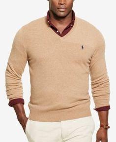 Polo Ralph Lauren Men's Big & Tall Merino Wool V-Neck Sweater - Dark Beige Heather 3XB