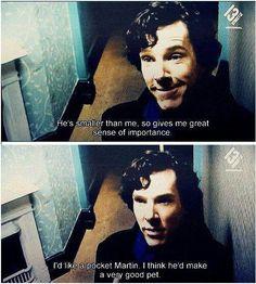 Benedict Cumberbatch on Martin Freeman OMG THE FEELS!! A little pocket hedgehog Martin!!