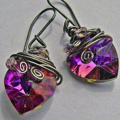 Fuchsia crystal heart earrings