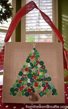 Last week when I shared my family room and breakfast nook Christmas decor,  I promised a tutorial for this little button Christmas tree wall hanging.  Button projects have been sho…