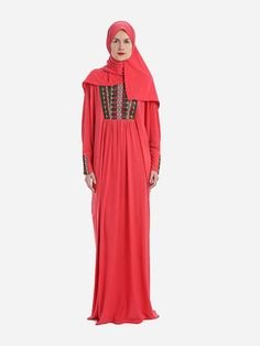Prayer Dress Isdal Embroidered Imperial Red With Hijab, Prayer Dress, Hijab & Jilbab | Islamic Boutique