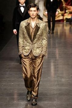 Models walk the runway during the Dolce amp; Gabbana fashion show as part of Milan Fashion Week Menswear Autumn/Winter 2012 on January 16, 2012 in Milan, Italy.
