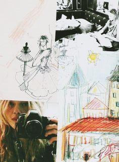 Sasha Pivovarova's artwork in Vogue Paris february 2011