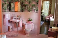 "vignette design: Tuesday Inspiration: Set Design from ""The Help"" Style Du Sud, Tuesday Inspiration, Room Inspiration, Peach Bathroom, Pink Tiles, Floral Shower Curtains, Vintage Bathrooms, Pink Bathrooms, Modern Bathrooms"