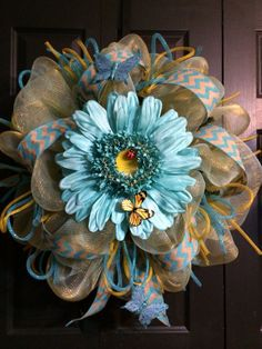 Spring Sunflower Wreath by WreathsbyLaura on Etsy, $90.00