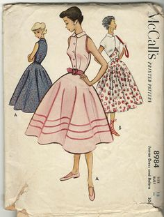 1950s dress and bolero jacket - McCall's vintage sewing pattern - Junior size 15. 12.95, via Etsy.