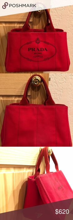 💯Authentic Preloved Prada Handbag Canvas 100% Authentic Prada Handbag Red Canvas, smoke and pet free environment. No damage and ready to use! Made in Italy  Serious Buyer only please No trade  Please check all photos Prada Bags Totes