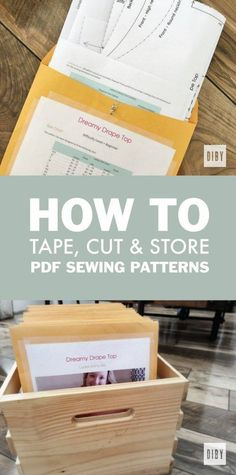 Learn How To Tape, Cut and Organize Your PDF Sewing Pattern for Easy Storage and Access. All a Part of The Beginner's Guide to Sewing Knit Apparel.