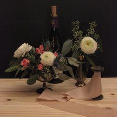 Three of our favourite things - posies in antique containers, French wine and @silkandwillow ribbon | #orangerieottawa #ottawaflorist #ottawawedding #support613 #dsfloral