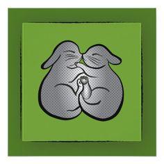 Green Bunnies Polka dots GREETING, Wedding, Easter