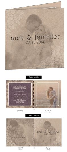 The Floral Craft offers a vintage twist on traditional photo wedding invitations with its floral patterns and craft paper overlay.