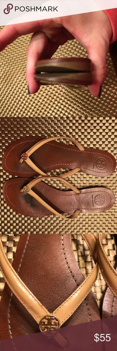 Tory Burch TERRA SANDAL flip flop SUN BEIGE 8.5 Well loved TORY BURCH TERRA flip flops.  Sun beige, nude color.  Most of the wear is noticeable on the soles, pretty smooth, and the heels.  While wearing these, the foot covers most imperfections.  Size 8.5 Tory Burch Shoes Sandals