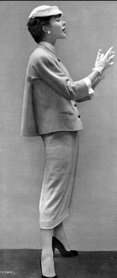 1953 Bettina in checked wool day-suit by Jacques Heim, photo by Herbert Tobias