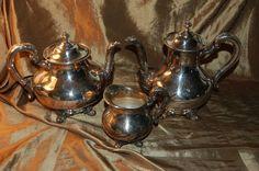 ANTIQUE REED BARTON REGENT 5600 COFFEE POT TEAPOT SUGAR CREAMER BOWL ...