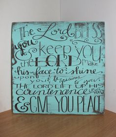 Handmade Wooden Sign, Numbers 6:24-26, Bible Verse Plaque, Bless you and keep you, Blessing Wood Sign