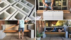 Here's a video tutorial that shows you how to make your own inexpensive DIY outdoor bench using a few concrete blocks and some wood.