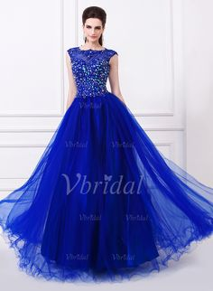 Evening Dresses - $164.45 - Ball-Gown Scoop Neck Floor-Length Tulle Evening Dress With Beading Appliques Lace Sequins (0175055972)