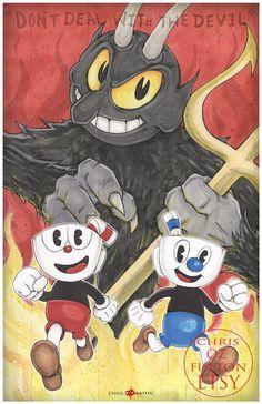 Cuphead Mughead Devil 11x 17 Poster Print By Chris Oz Fulton