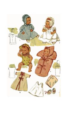 Frock Patterns, Baby Dress Patterns, Baby Clothes Patterns, Clothing Patterns, Sewing Patterns, Girl Dolls, Baby Dolls, Color Copies, Ideal Toys