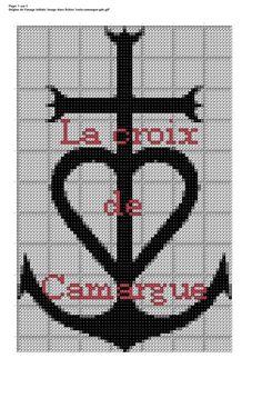 Aujourd'hui c'est un hommage à ma région d'adoption, avec la croix de Camargue: Il y a du noir (310), du gris pour l'ombrage (647) et...