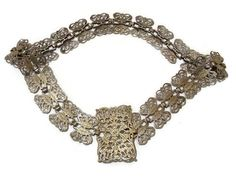 Edwardian ornate nurses belt. 1920s silver by WhiteHartAntiques