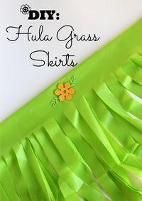 DIY Grass Skirts using plastic tablecloths