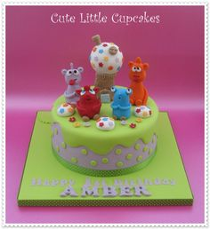 Birthday cake decorated with The Cuddlies x Birthday Cake Decorating, Small Cake, Yummy Cupcakes, Love Cake, Buttercream Frosting, Celebration Cakes, Tiered Cakes, Cupcake Cakes, Fondant