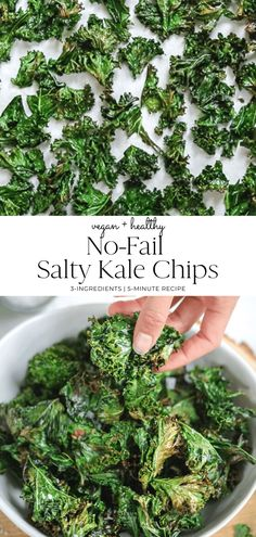 No-fail salty kale chips. Only and 5 minutes to bake. Easy, healthy and SO addictive. You will convert any skeptic into a kale lover. Healthy Bedtime Snacks, Healthy Snacks, Healthy Breakfasts, Protein Snacks, High Protein, Healthy Suppers, Vegan Snacks, Eating Healthy, Chips Kale