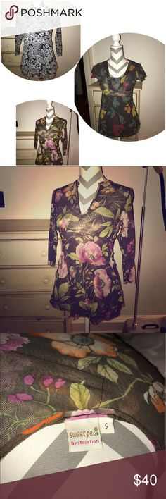 Sweet Pea by Stacy Frati Floral Top Bundle Sweet Pea by Stacy Frati. 3 tops all size small and EUC. No damage. Beautiful floral patterns. 100% nylon. Welcoming offers. Purchased from Anthropology Anthropologie Tops