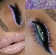 - -Eye Base -Demure palette -Eye Illusion Chameleon -Liquid Liner Noir -Gel Eyeliner LBD -Lipstick for in Nice -Creme Gel Liner in Exit -Glitters in ABBA & Northern Lights -Rich Fluffy ________ Purple Makeup, Glam Makeup, Pretty Makeup, Beauty Makeup, Eye Makeup, Hair Makeup, Makeup Goals, Makeup Tips, Eye Illusions