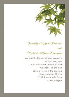 simple green wedding invitations