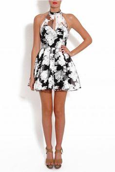 Black and White Floral Print Halter Prom Dress