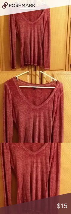 Express long sleeve tee Very cute burgundy color V neck long sleeve tee never been worn Express Tops Tees - Long Sleeve