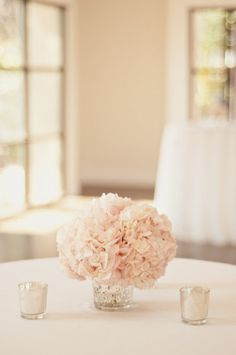 Blush pink hydrangeas with votives. Love low and simple center pieces. This would be cheap using hydrangeas or homemade paper flowers.