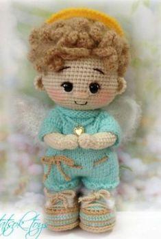 Amigurumi Angel Baby Free Pattern – Amigurumi Crochet Parrot, Crochet Baby, Crochet Geek, Halloween Crochet Patterns, Crochet Amigurumi Free Patterns, Doll Amigurumi Free Pattern, Crochet Doll Pattern, Crochet Angels, Boy Doll
